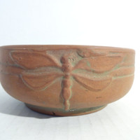Vintage Arts and Crafts Peters and Reed Moss Aztec Bowl..Small Dragonfly..Arts and Crafts Pottery..Peters and Reed..Studio Pottery Bowl