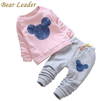 Screen printed Disney Mickey Mouse Ears Cartoon Printing Sweatshirt & Casual Pants (2Pcs)