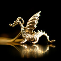 Gold Dragon Necklace - 14k Gold Baby Dragon Charm - Dragon Pendant Dragon Jewelry - 14k Gold Dragon - Gold Charm