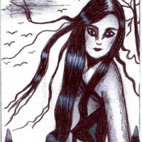 woman windy day long hair original aceo art drawing sketch portrait Elizavella