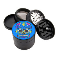 "Blue Sugar Skull Design - 2.25"" Premium Black Grinder - Custom Designed"