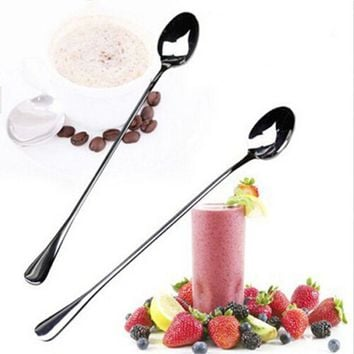 1 pcs High Quality Ice Cream Tea Coffee Handled Long Handle Stainless Steel Spoons Flatware