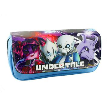 Free Shipping 2017 New Arrival Game Pencil Pen Case Undertale 2 Style Cosmetic Makeup Coin Pouch Zipper Bag