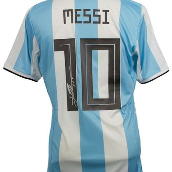 Lionel Messi Signed Adidas Argentina Home Large Soccer Jersey Messi COA