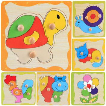 DCCKL72 Jigsaw Puzzle Toy Kids Learning Wooden Animal Cartoon Educational Toys Games Many Styles Colorful Baby Children's Day Gift