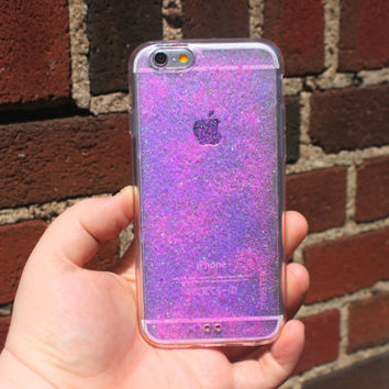 iPhone 6s Plus Pink Glitter Clear Case, Iphone 6s Glitter Case, Iphone 5 C, Iphone 4 S, Clear Phone Case, Sparkle Phone Case, Pink Glitter