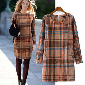 Women's Fashion Plaid Slim Long Sleeve Dress One Piece Dress [4918982788]