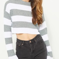 Gray Striped Ribbed Crop Sweater