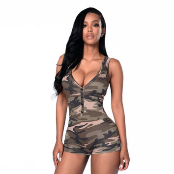 Army Camouflage Romper Women Jumpsuit
