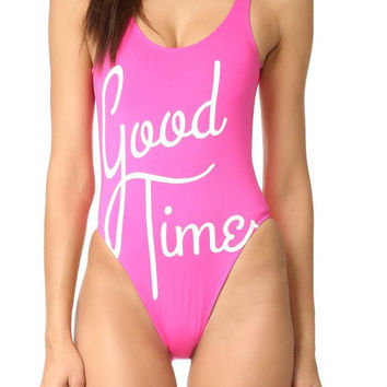 """Good Time"" Graphic Print Pink One Piece Swimsuit"