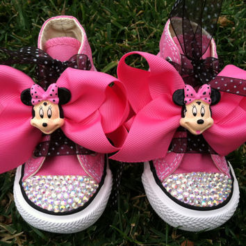 MINNIE MOUSE Inspired SHOES - Minnie Mouse Birthday - Swarovski Crystals - Sparkle Toes - Pink Converse - Sizes 2-13