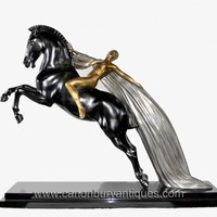 Canonbury - French Art Deco Bronze Horse Nude Figurine Statue Signed Charles