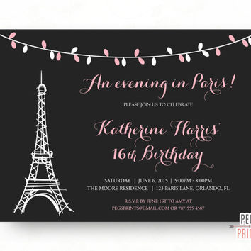 Paris Sweet 16 Birthday Invitations (Printable) Paris Theme Birthday Party Invitation - An Evening in Paris Invite - Pink Parisian Birthday