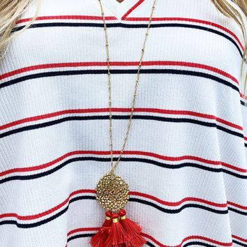 Peep This Necklace: Red/Gold
