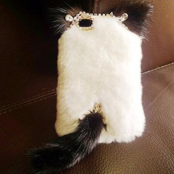 For Mobile Phone Luxury White Fluffy Fur Lovely Cat Ear Tail Diamonds Case Cover
