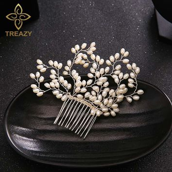 TREAZY Bridesmaid Bridal Cream Imitation Pearl Floral Hair Combs Hairpins Wedding Hair Accessories Handmade Veil Hair Jewelry