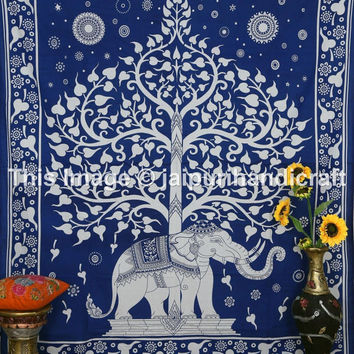 Tree of Life Tapestry, Indian Elephant Tapestry, Tree- Elephant Tapestry, Indian Tapestry, Teen Age Dorm Bedding,  Elephant Under Tree Sheet