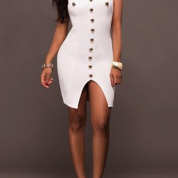 White Plain Studded Slit Bandeau Mini Dress