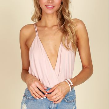 Strappy Low Cut Bodysuit Light Taupe