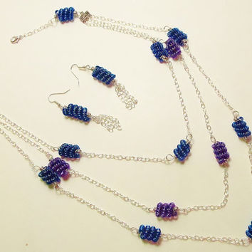 Wire Wrapped Necklace and Earring Set Wire Tube Twist by Starfall