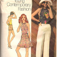 Simplicity 9971 Sewing Pattern 70s Disco Style Halter Top Shirt Blouse Mini Skirt High Waist Pants Plus Size Bust 38