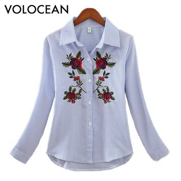 Volocean HOT Tops 2018 Embroidered Women Striped Blouse Puff Sleeve 5 Color Shirt Blusas Kimono Hem Appliques Blouse Top Tee