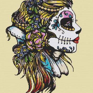 Modern Cross Stitch Kit 'Snow White' By Illustrated Ink - Sugar Skull Cross Stitch