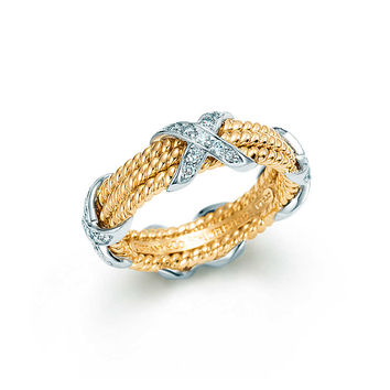 Tiffany & Co. - Tiffany & Co. Schlumberger® Rope three-row X ring in 18k gold with diamonds.