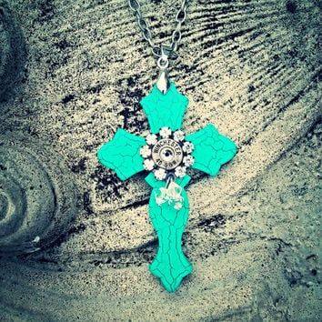 Turquoise Cross Bullet Necklace