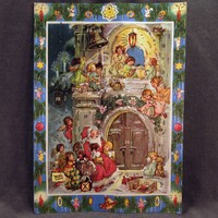 Vintage Christmas Advent Calendar – West German Calendar with Santa and Angels