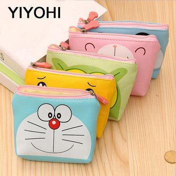 YIYOHI PU Cute Style Novelty Beautiful Gril Zipper Plush Square Panda /Duck/Bear Coin Purse Kawaii Children Bag Women Wallets