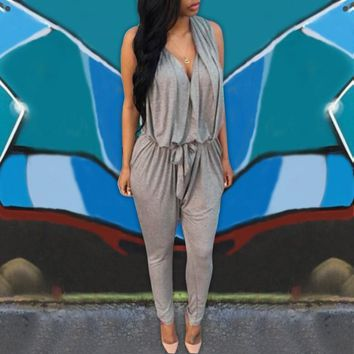 Rompers Women Jumpsuits 2018 Summer Sexy Sleeveless Long Casual Overalls V Neck High Waist Long Playsuit Plus Size