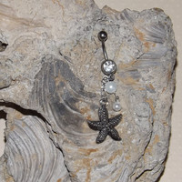 Star Fish Belly Ring White Rhinestone with Pearl Accents