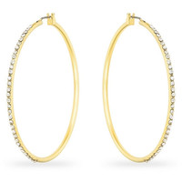 Nadine Crystal 14k Gold Large Hoop Earrings