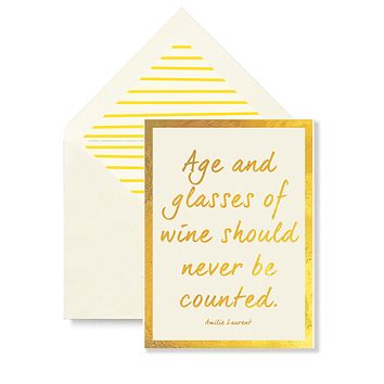 Age And Glasses Of Wine Greeting Card, Single Folded Card or Boxed Set of 8