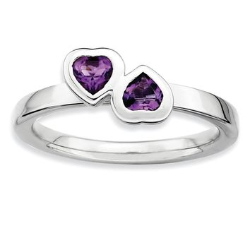 Rhodium Plated Sterling Silver & Amethyst Stackable 2 Stone Heart Ring
