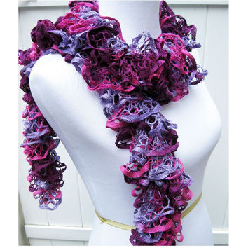 Pink & Purple Knit Ruffle Scarf