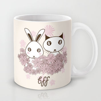 Cute Bunny and Kitten Kawaii Milk/Coffee Mugs for Her:  BFF - Best Friends Forever