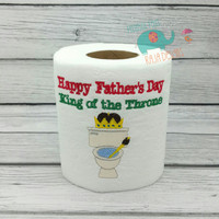 Happy Fathers Day King of the Throne embroidered toilet paper, gag gift, white elephant gift, bathroom decoration, home decor bath