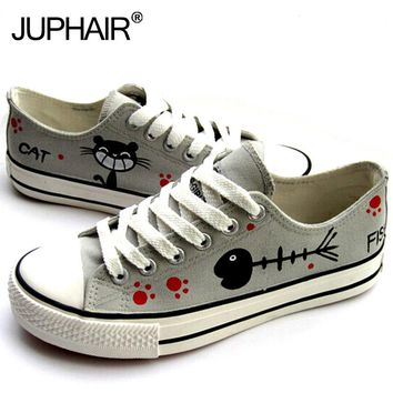Shoes Cat Cartoon Hand Painted Canvas Shoes - JUPHAIR Brand