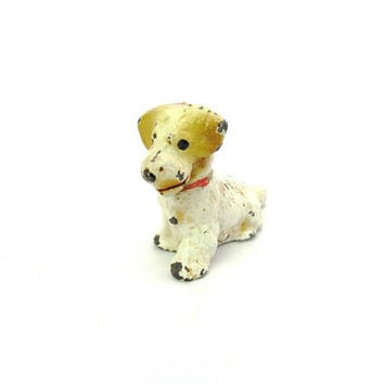 Mini Dog Figure. Hubley Painted Place Card Holder, Paperweight. Terrier Miniature. Animal Figurine. Vintage 1930s American Collectible