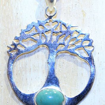 Sterling SIlver Turquoise Tree of Life Pendant