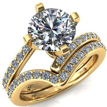 Orianna Round Moissanite 4 Prong 1/2 Eternity Bypass Shank Engagement Ring
