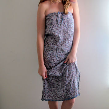 Vintage Blue Floral Print Dress Sleeveless Tube Long Maxi Knee Length Flowers Hippie Boho Bohemian Gypsy Free People Style
