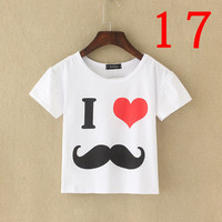 I Love Mustache White Crop Top Woma..