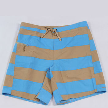 PATAGONIA MEN'S MINIMALIST WAVEFARER® BOARD SHORTS - ALISAL STRIPE: SKIPPER BLUE