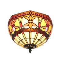 Iron Base Stained Glass Vintage Tiffany Indoor Flush Mount Ceiling Lights