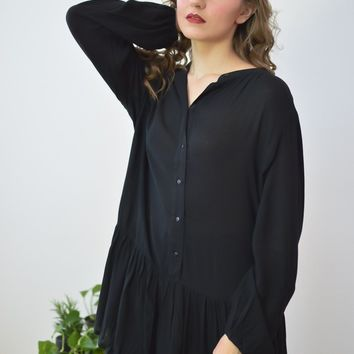 Button Down Ruffled Hem Black Tunic