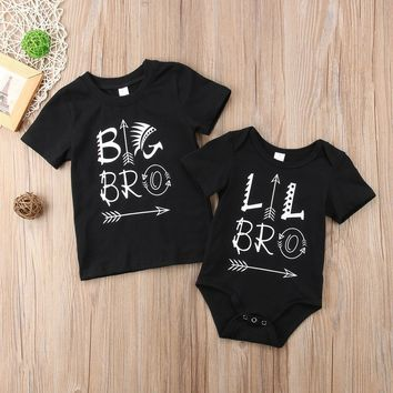 Family Matching Little Brother,Baby Boy Rompers Big Brother, T-shirt Tops Cotton