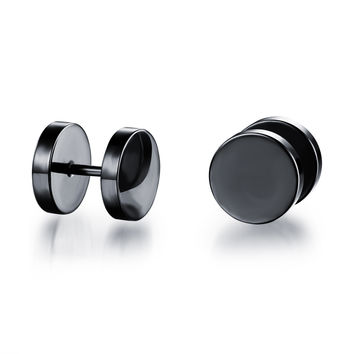 Birthday Gifts Men Simple Design Stud Titanium Earrings [9047550855]